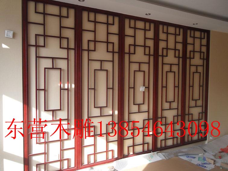 东营古月木雕屏风花格安装图片