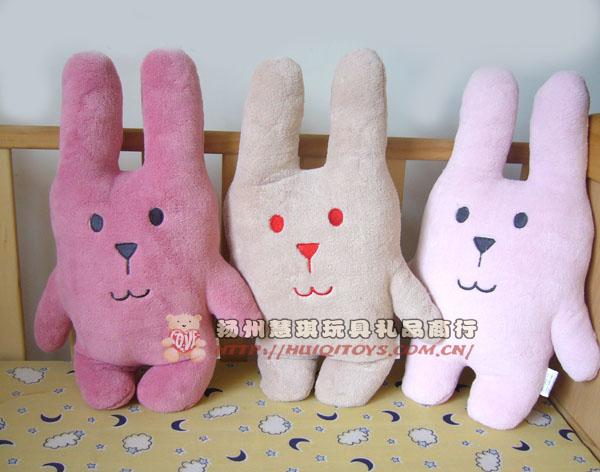 扬州慧琪玩具外贸梨花兔熊方便小靠垫珊瑚绒毛毯批发