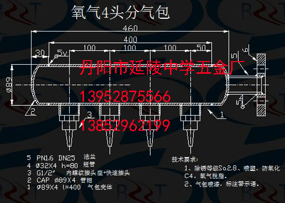 氧气分配器终端图纸终端_氧气分配器野鸡工艺媒脚图纸编法工艺绳图片