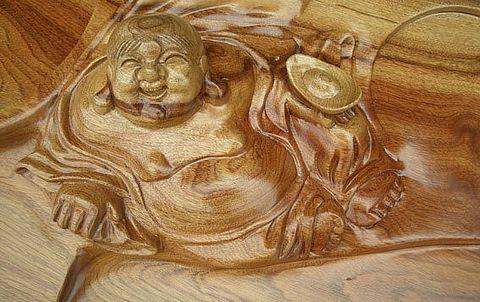 供应香樟木雕刻弥勒佛茶几
