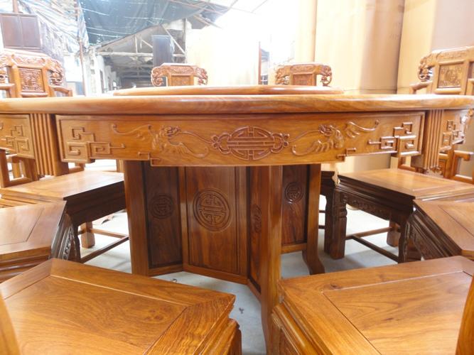 红木餐桌椅/红木圆桌/红木雕花餐桌/红木家具/花梨木餐桌