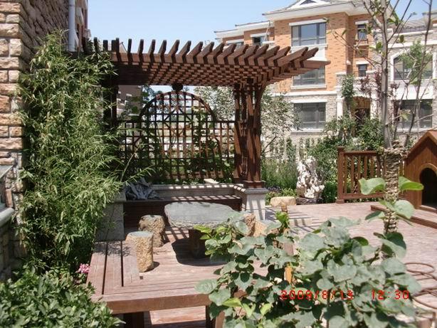 一楼小花园实景 家庭小花园图片大全-农村家庭小花园设计实景图