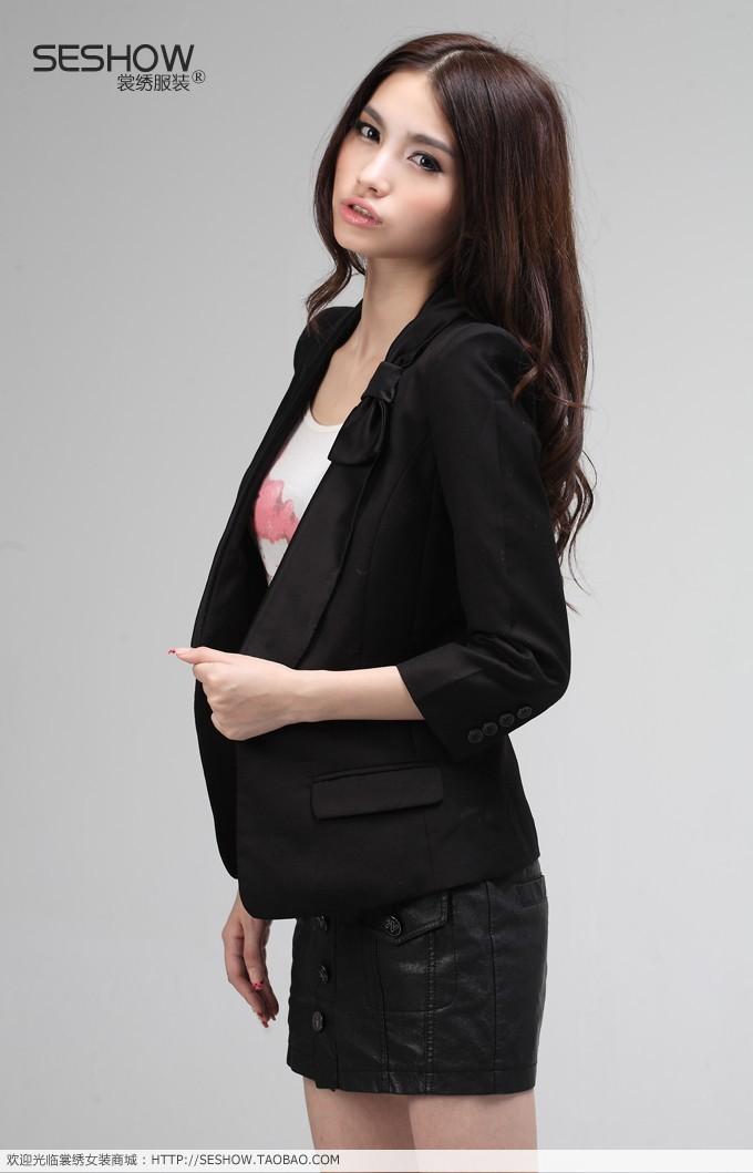 女装外套春夏款黑色修身小西装