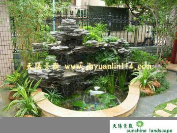 供应广州庭院假山鱼池