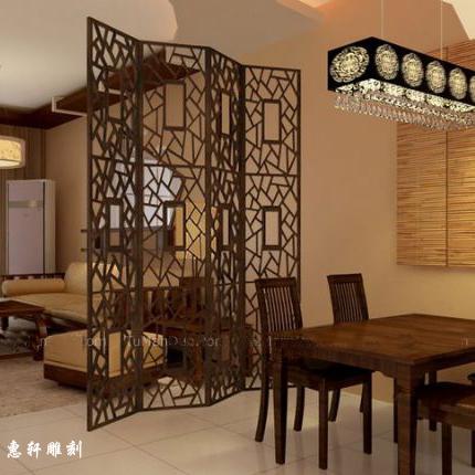 餐厅和客厅花格隔断效果图