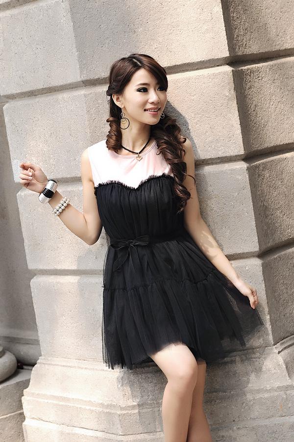 供应2011夏季可爱时尚假两件可爱娃娃装连衣裙033083