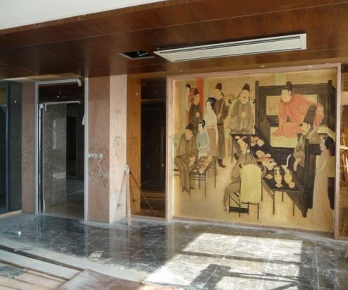 六安金箔画墙体彩绘壁画手绘彩绘墙艺术图片