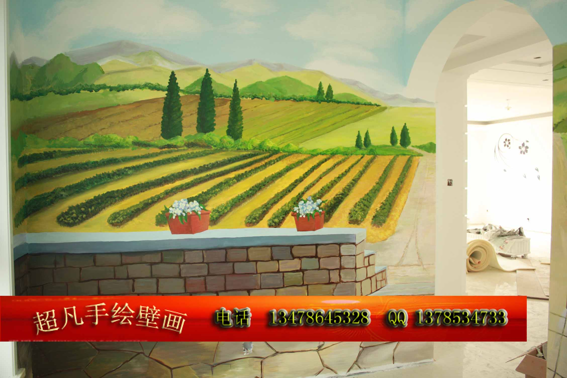 超凡手绘壁画工作室生产供应简欧风格手绘墙