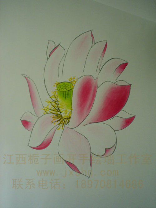 超凡手绘壁画工作室生产供应花类墙画09