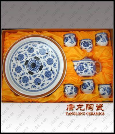 供应陶瓷茶具青花福纹陶瓷茶海功夫茶具套装图片