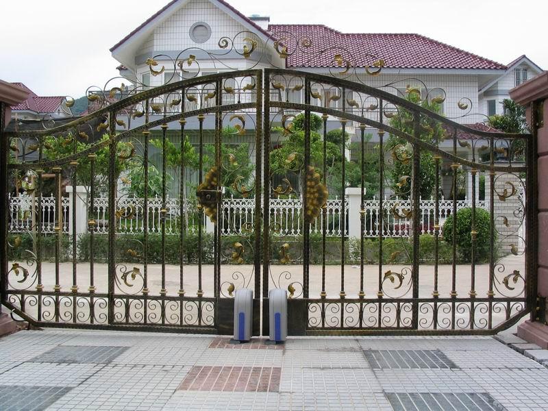 效果图????????????   别墅围墙大门效果图 订做安装铁艺大
