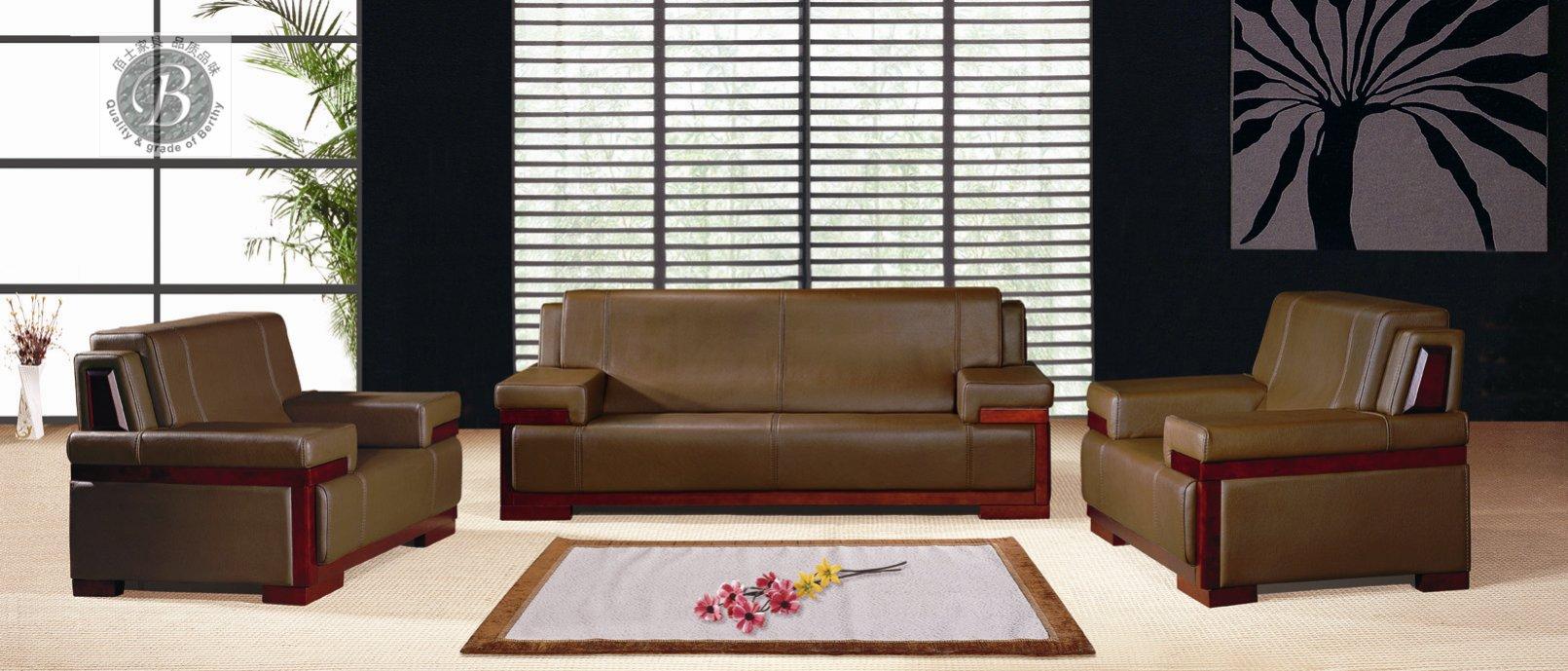 广州真皮办公沙发厂家定做图片