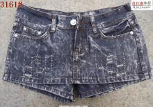 中山牛仔裤批发 女式牛仔裤 短裤3161#
