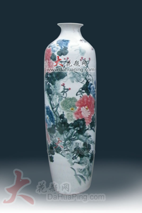供应牡丹花陶瓷花瓶国色天香花瓶景德镇陶瓷牡丹五彩瓷牡丹花