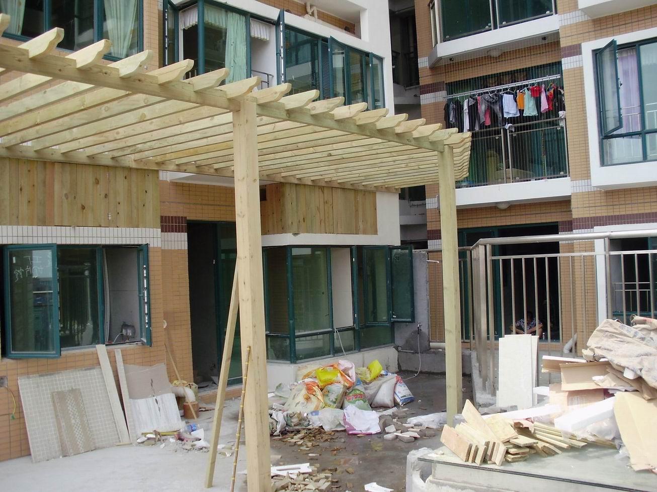防腐木装修一楼小院设计效果图