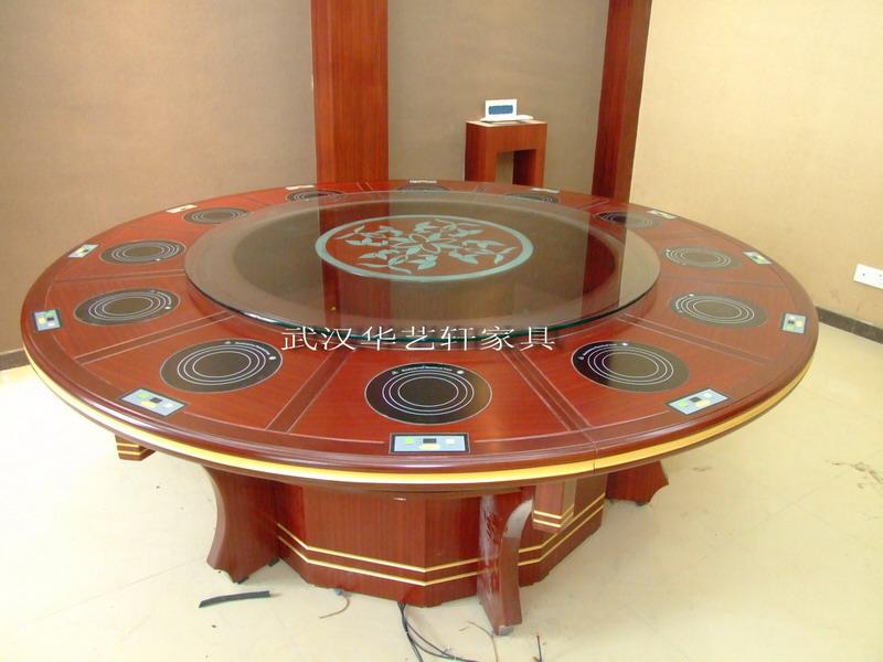 供应酒店火锅桌自动旋转电磁炉火锅桌