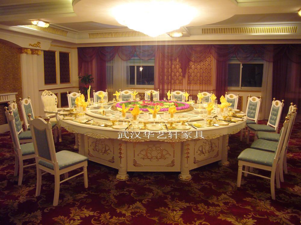 供应实木雕花豪华电动餐桌及餐椅