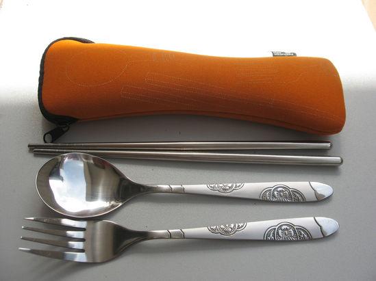 骨头包梅花叉勺筷餐具MR-0306 便携不锈钢餐具广告促销礼品 骨头包梅花叉勺筷不锈钢餐具批发