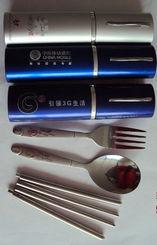 供应大头勺叉短柄便携式铝盒餐具三件套批发