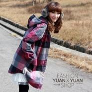 韩版大格纹绵衣外套图片