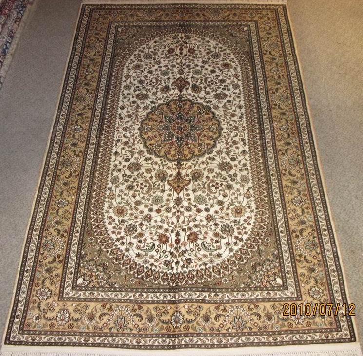 欧式清爽典雅真丝手工打结编织地毯图片|欧式清爽