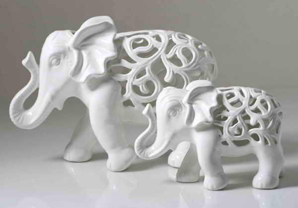 创意镂空白瓷大象摆件,大象图片
