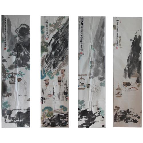 福禄寿禧四条屏图片