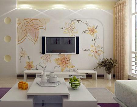 制作手绘背景墙客厅背景墙壁画