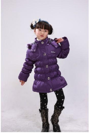 供应海娃娃儿童羽绒服2010款女童外套热卖冬装保暖上衣W0217批发